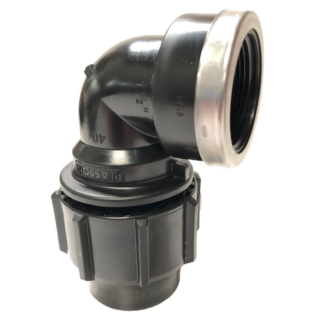 Compression Fitting 90 deg. elbow with threaded female offtake